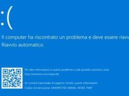 schermata blu windows 10