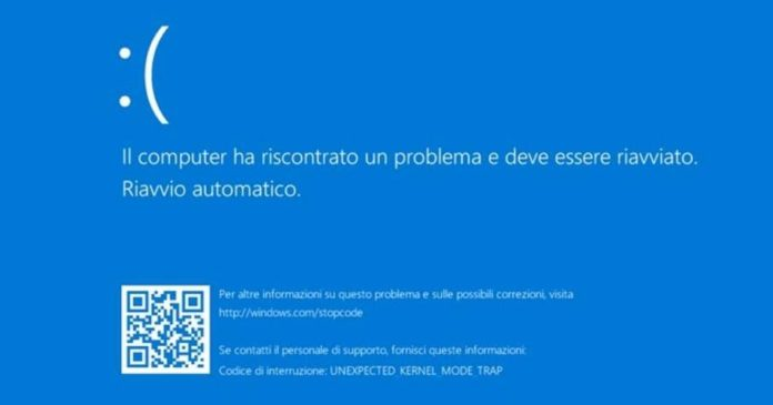 schermata blu windows 10